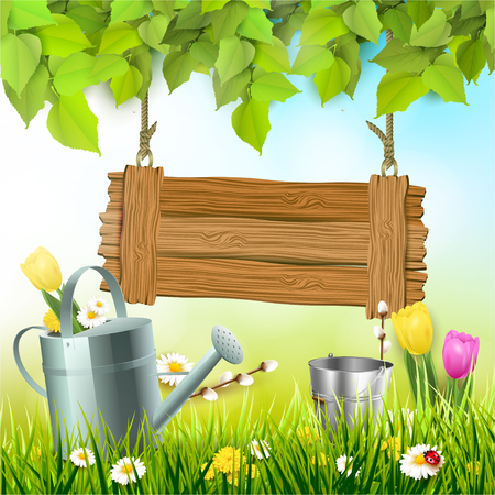 Spring background with leaves, wooden sign and watering an in the grass Ilustração