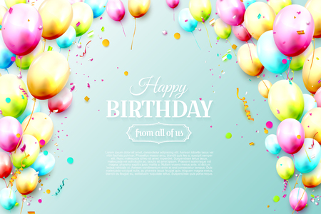 Birthday template with colorful birthday balloons on blue background