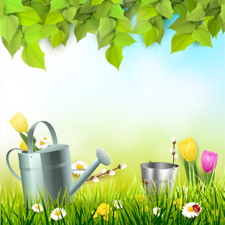 Spring background with leaves, watering can and flowers in the grass