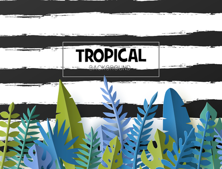 Trendy Summer template with tropical palm leaves and plants in paper cut style. Stock Illustratie