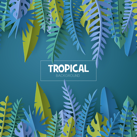 Trendy Summer template with tropical palm leaves and plants in paper cut style. 向量圖像