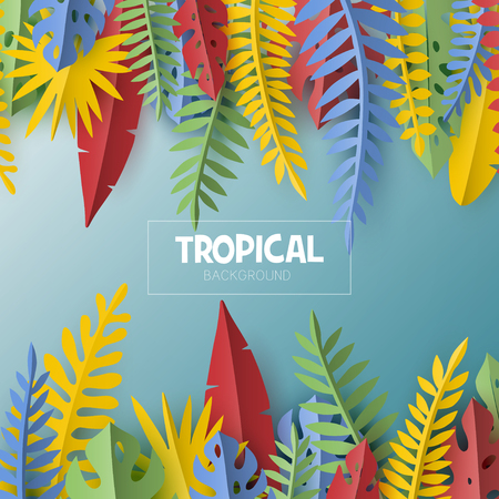 Trendy Summer template with tropical leaves and plants. Illusztráció