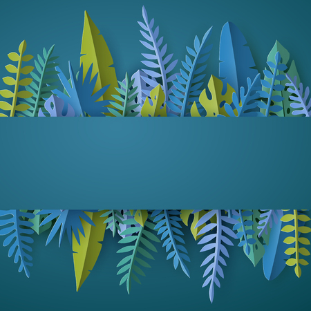 Trendy Summer template with tropical palm leaves and plants in paper cut style. 矢量图像