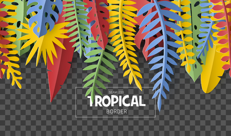 Trendy Summer border with tropical palm leaves and plants in paper cut style. Seamless pattern.
