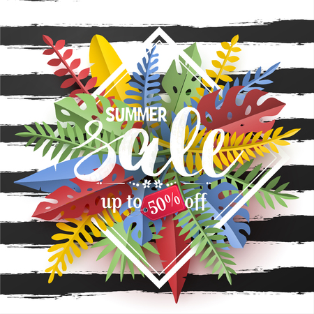 Trendy Summer sale flyer with tropical palm leaves and plants in paper cut style.