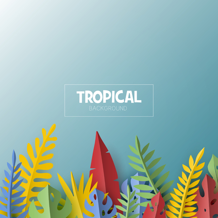 Trendy Summer template with tropical palm leaves and plants in paper cut style. Illustration
