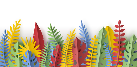 Trendy Summer border with tropical palm leaves and plants in paper cut style. Seamless pattern. Vektorové ilustrace