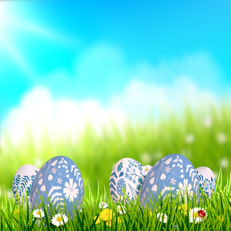 Easter background with traditional Easter eggs in the grass. Place for your text 向量圖像