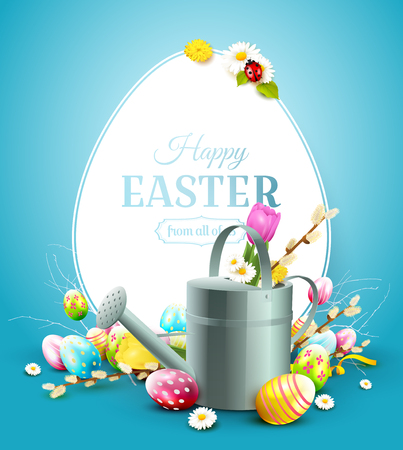 Modern Easter greeting card with colorful eggs and watering can on blue background.