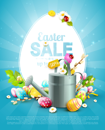 Modern Easter sale flyer with colorful eggs and watering can on blue background.