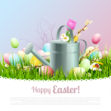 Sweet Easter greeting card with colorful eggs and watering can in the grass. Place for your text