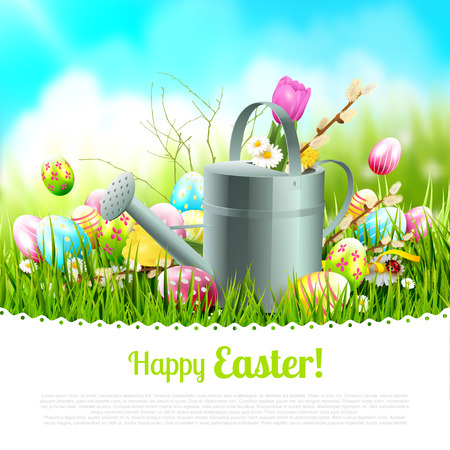 Modern Easter greeting card with colorful eggs and watering can in the grass. Place for your text