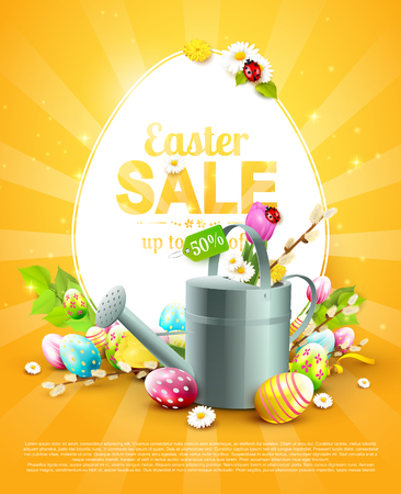 Modern Easter sale flyer with colorful eggs and watering can on orange background.