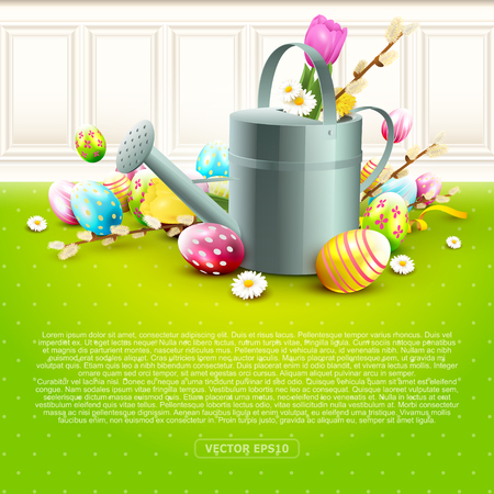Modern Easter greeting card with colorful eggs and watering can. Place for your text Illusztráció