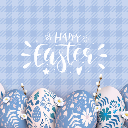 Cute traditional Easter template with Easter eggs with floral pattern