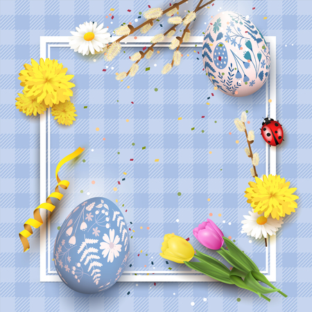 Cute traditional Easter template with Easter eggs with floral pattern and flowers on blue checkered background