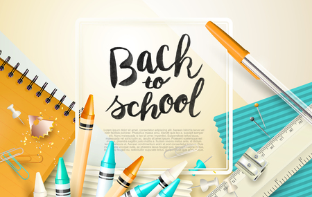 Modern Back To School template witch school supplies
