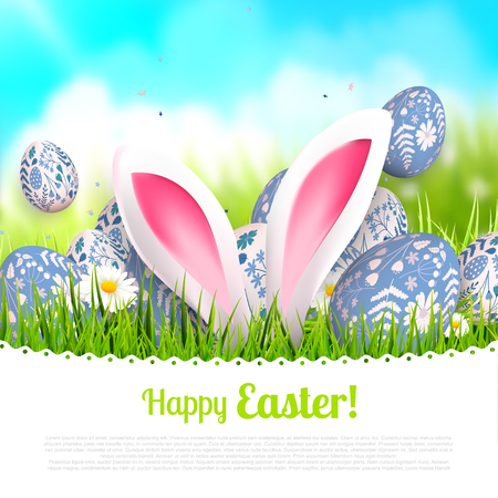 Easter greeting card with traditional blue eggs and bunny ears in the grass. Place for your text