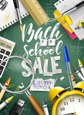 Back to school sale concept with with stationery on green chalkboard. Promotion campaign template. Stock Illustratie