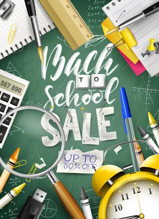 Powrót do koncepcji sprzedaży szkoły z papeterii na zielonej tablicy. Szablon kampanii promocyjnej.
