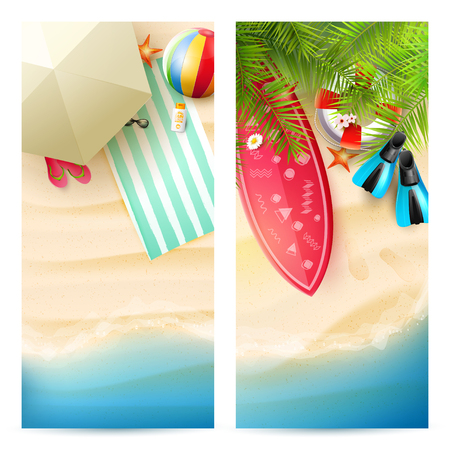 Summer time trendy headers or banners with palm leaves and summer accessories on the beach 向量圖像