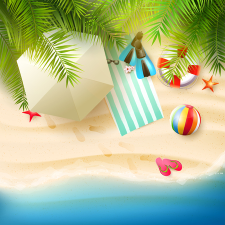 Summer time background with summer accessories on the beach