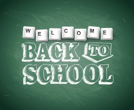 Welcome Back To School text on green chalkboard. Back to school template.