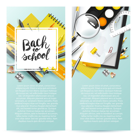 Modern design headers with school accessories and Back to school hand drawn lettering