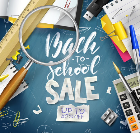 Back to school sale concept with with stationery on blue chalkboard. Promotion campaign template.