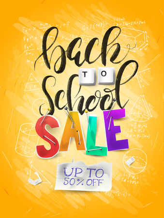 Back to school sale concept with lettering,  magnifier and brush. 向量圖像