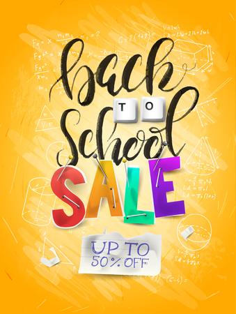 Back to school sale concept with lettering,  magnifier and brush. Illusztráció