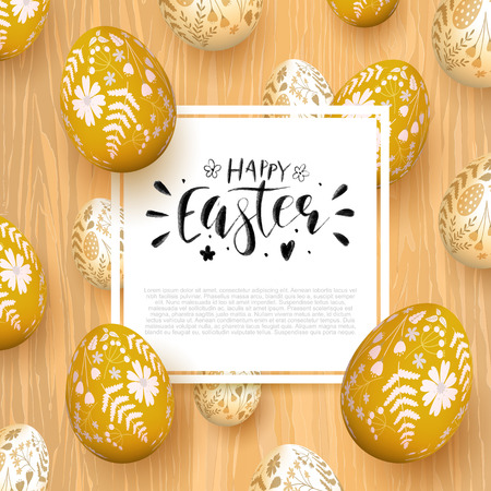 Romantic Easter greeting card with eggs on wooden background. Brush lettering. Space for your text