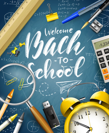 Welcome Back To School. Supplies on blue chalkboard. Template for Back to school marketing campaign. 向量圖像