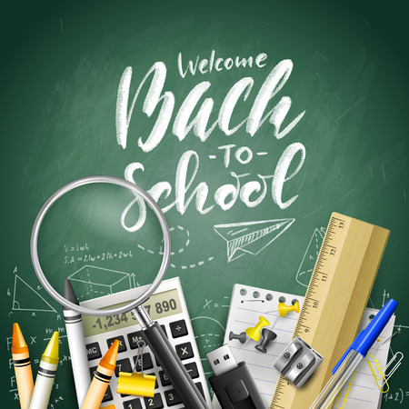 Welcome Back To School. Supplies on green chalkboard. Template for Back to school marketing campaign.