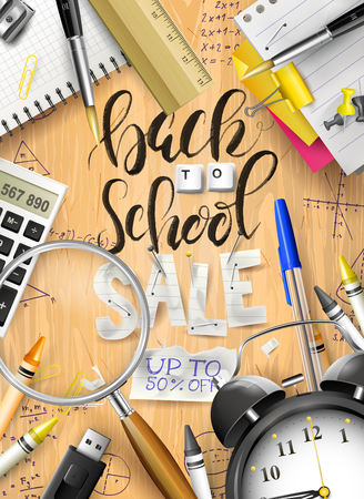 Back to school sale concept with with stationery on wooden desk. Promotion campaign template.