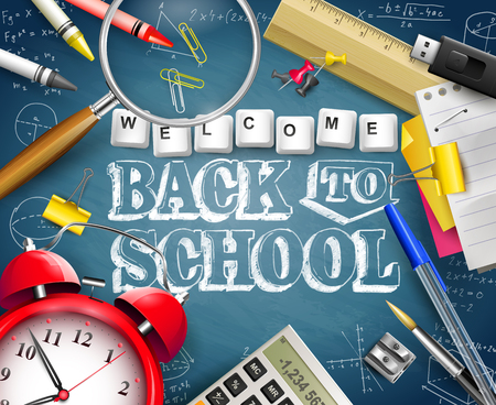 Welcome Back To School. Supplies on blue chalkboard. Template for Back to school marketing campaign. Ilustração