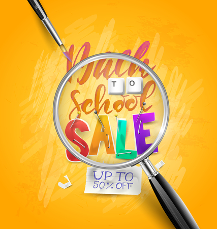 Back to school sale concept with lettering,  magnifier and brush. Promotion campaign template.