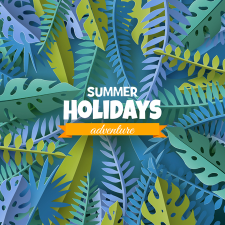 Trendy Summer template with tropical palm leaves and plants in paper cut style. Illusztráció