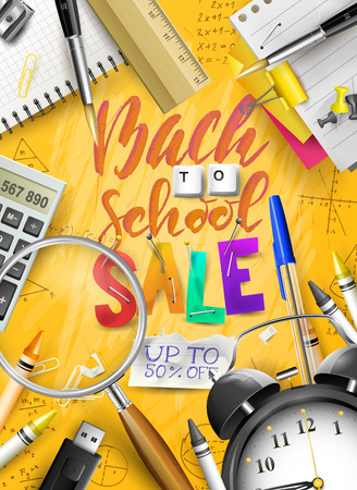 Back to school sale concept with with stationery on orange background. Promotion campaign template.