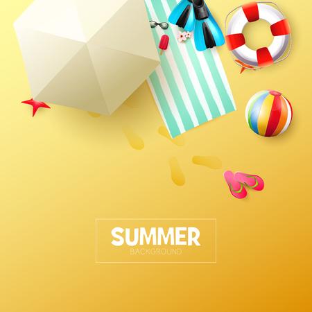 Summer time modern background with summer accessories on orange background Illusztráció
