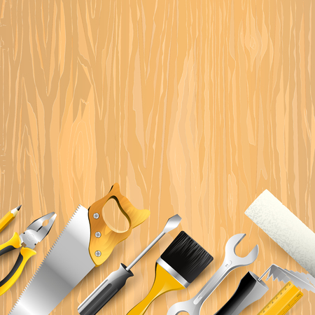 Carpentry trendy background with tools on wooden background. Place for your text
