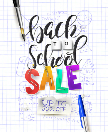 Back to school sale concept with brush lettering. Promotion campaign template.