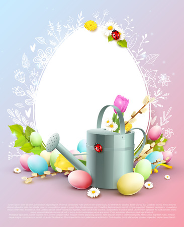 Cute Easter greeting card with colorful eggs and watering can on pastel background.