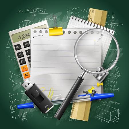 School supplies and empty paper on green chalkboard. Back to school concept. Stock Illustratie