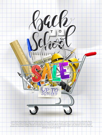 Back to school sale concept with shopping cart with stationery. Promotion campaign template.