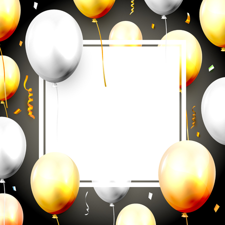 Celebration luxury template with orange and grey balloons. Space for your text