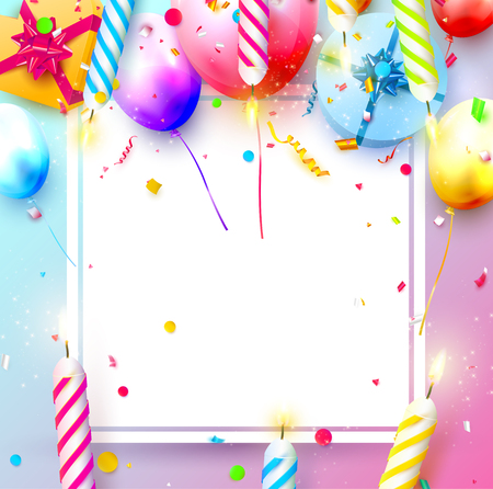 Happy birthday party template with colorful balloons, candles, gift boxes and confetti. Space for your text Stock Illustratie