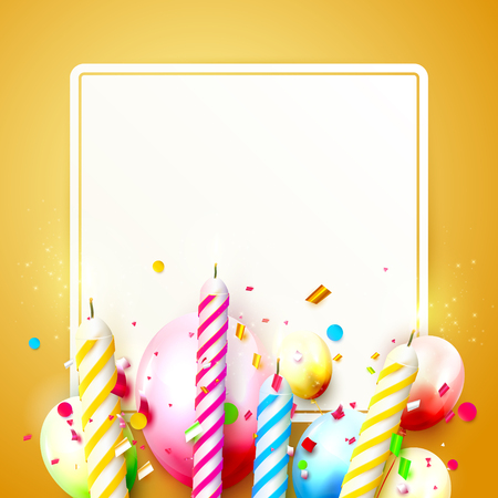Colorful candles and balloons on orange background. Birthday, anniversary or celebration template with place for your text. Stock Illustratie