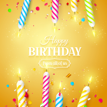 Colorful sparkling candles on orange background. Birthday, anniversary or celebration template.
