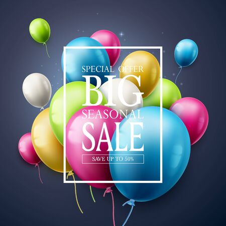 Big seasonal sale. Special offer celebrate background with colorful air balloons. Realistic vector design for use as banner, flyer, wallpaper, brochure,  invitation or party poster.